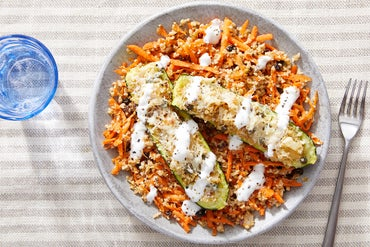Stuffed Zucchini with Carrots, Currants & Freekeh