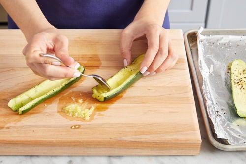 Roast & hollow the zucchini: