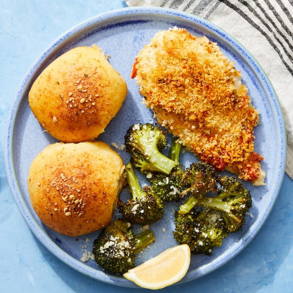 Panko & Pepper Mayo-Baked Chicken with Cheesy Stuffed Rolls & Roasted Broccoli