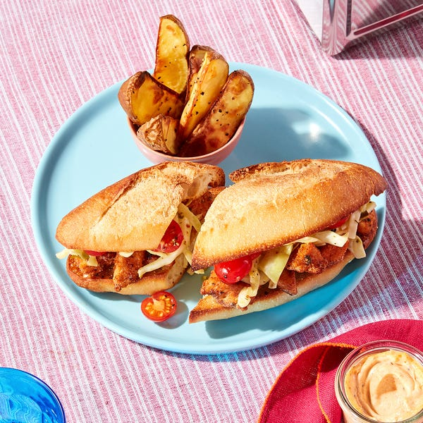 New Orleans-Style Crispy Chicken Po' Boys with Creamy Cabbage Slaw