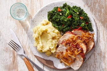 Glazed Pork Roast with Buttermilk Mashed Potatoes & Sautéed Kale