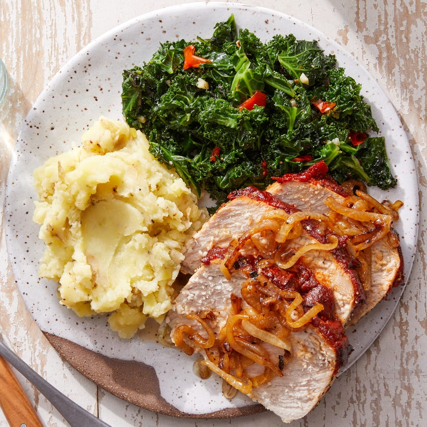 Glazed Pork Roast with Buttermilk Mashed Potatoes & Sautéed Kale