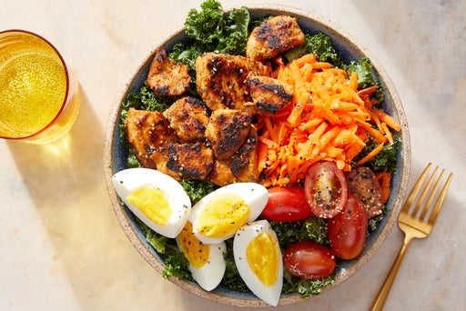 Seared Chicken & Marinated Kale Salad with Tomatoes & Hard-Boiled Eggs