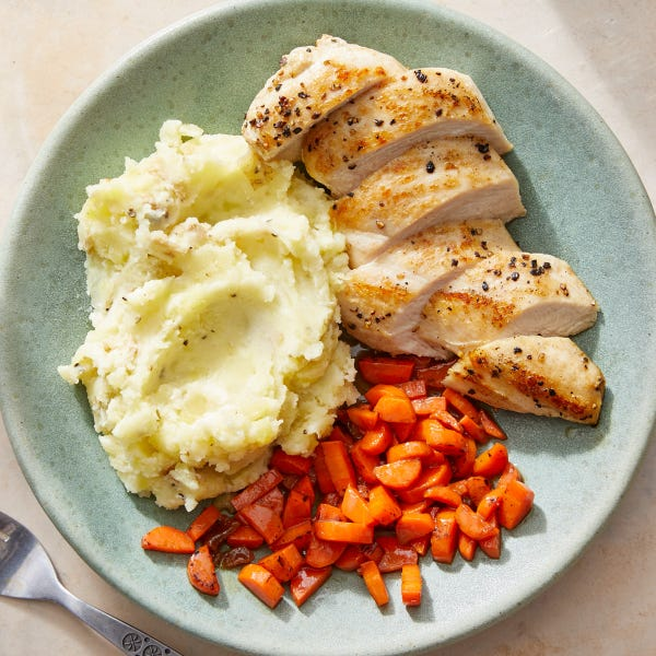 Seared Chicken & Glazed Carrots with Goat Cheese Mashed Potatoes