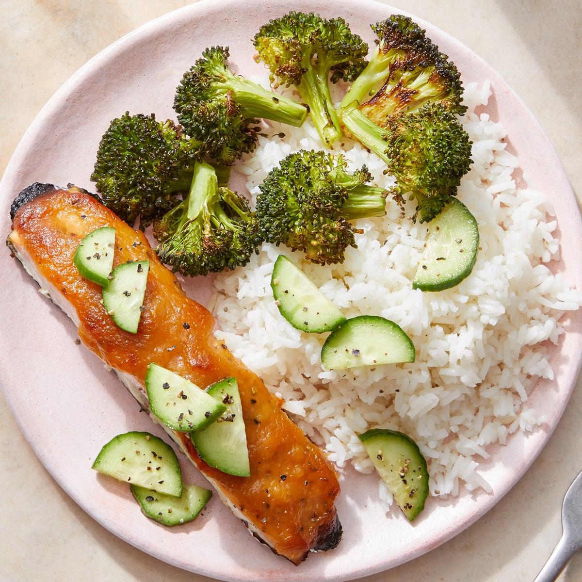 Sweet & Savory Glazed Salmon with Sesame Broccoli & Garlic Rice