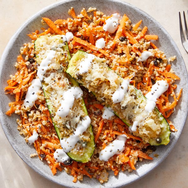 Freekeh-Stuffed Zucchini with Lemon Yogurt