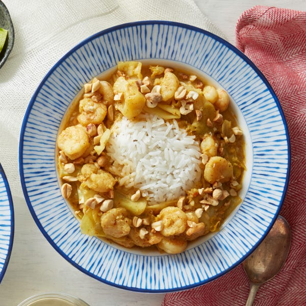 Spicy Shrimp Coconut Curry with Green Cabbage & Rice