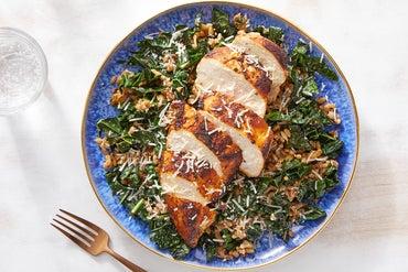 Seared Chicken with Spicy Kale & Mushroom Farro
