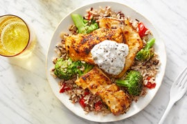 Seared Wild Alaskan Pollock with Red Rice & Broccoli Salad