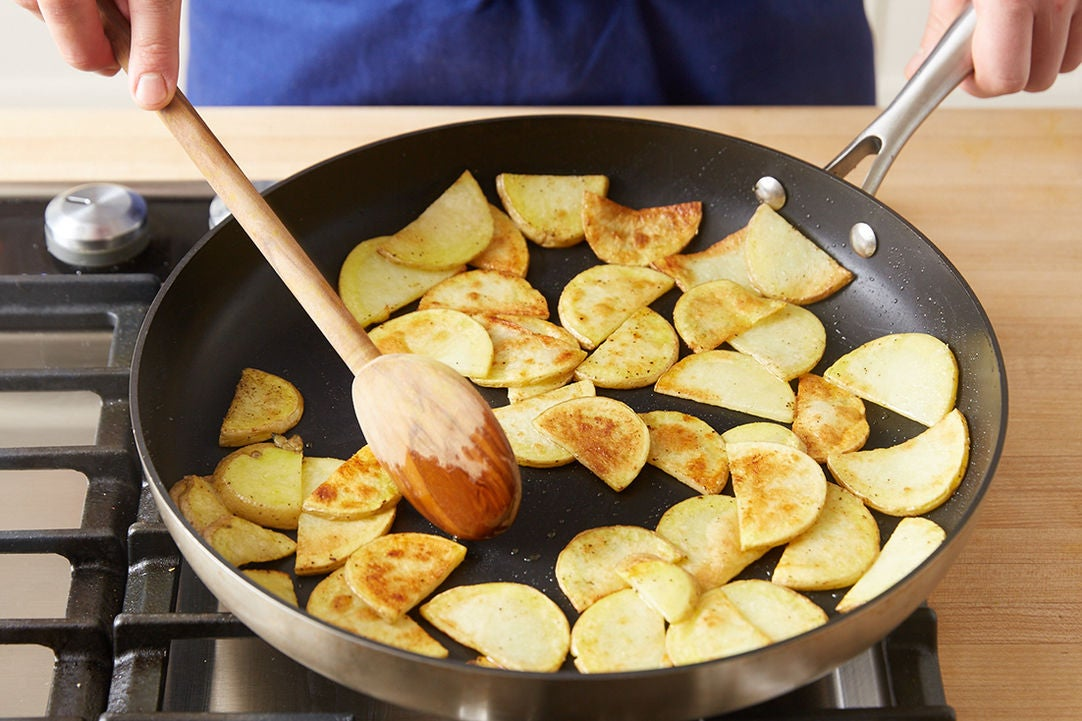 Cook the potatoes & plate your dish: