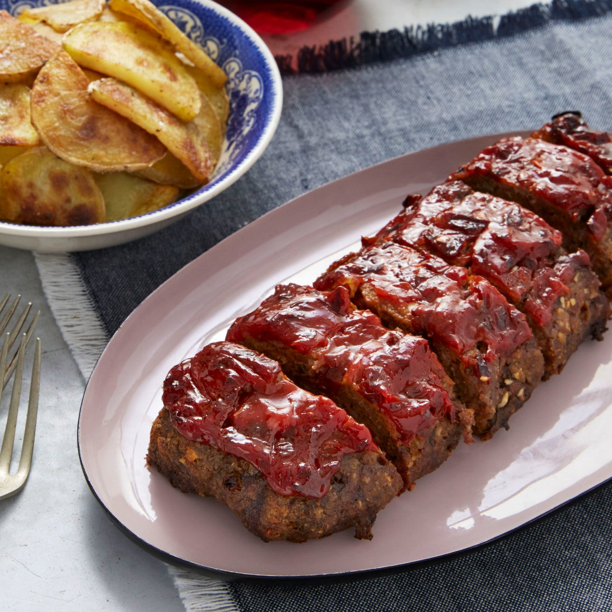 Chipotle-Glazed Meatloaf with Crispy Potatoes