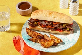 Chicago-Inspired Italian Beef Sandwiches with Roasted Potato Wedges