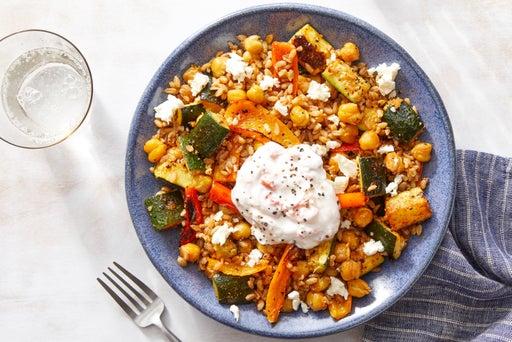 Roasted Vegetable Grain Bowl with Crispy Chickpeas  & Yogurt Sauce