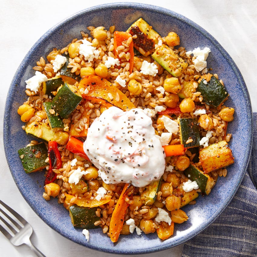 Roasted Vegetable Grain Bowl with Crispy Chickpeas  & Yogurt Sauce