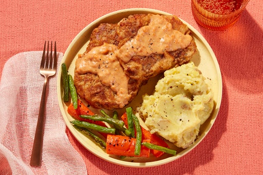 Texas-Style Chicken Fried Steaks with Mashed Potatoes & Green Beans