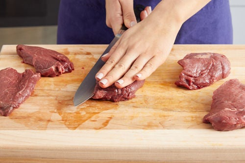 Pound & coat the steaks: