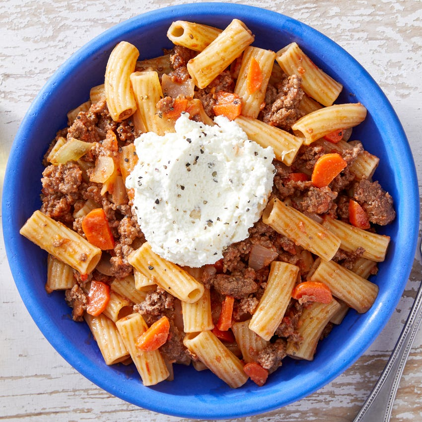 Pasta Bolognese with Garlic Ricotta