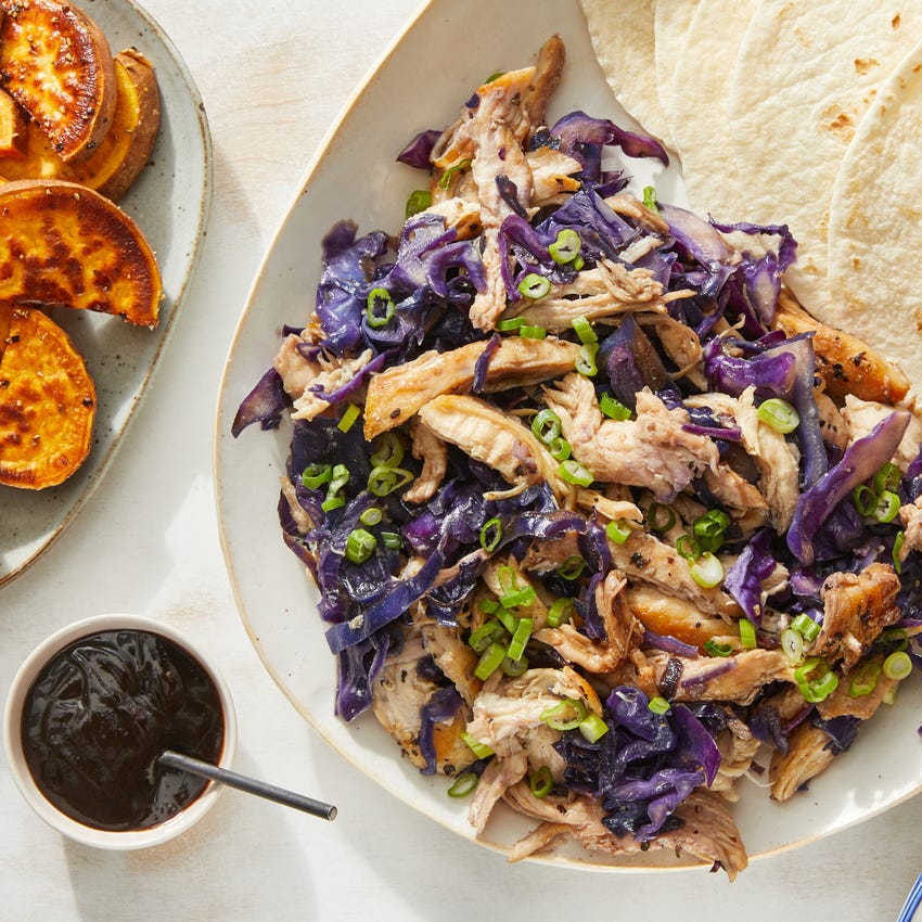 Moo Shu-Style Chicken with Sesame-Roasted Sweet Potatoes