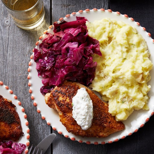 Spice-Crusted Chicken with Creamy Potatoes & Red Cabbage