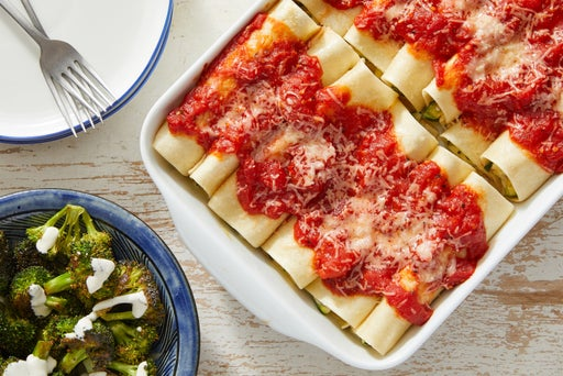 Three-Cheese & Zucchini Cannelloni with San Marzano Tomato Sauce