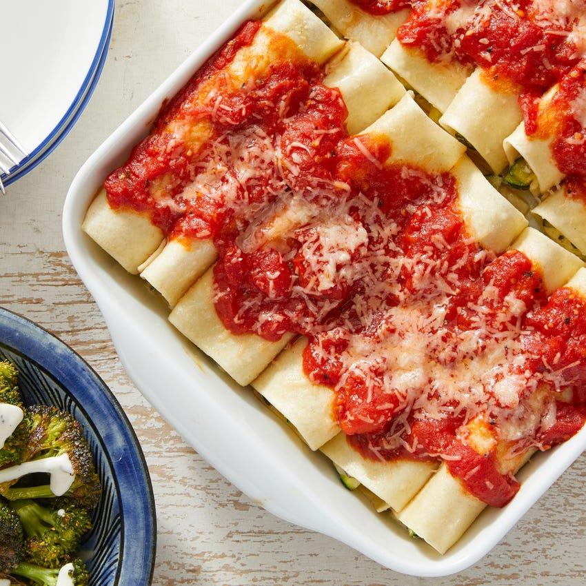 Three-Cheese & Zucchini Cannelloni with San Marzano Tomato Sauce