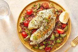 Lemon-Oregano Tilapia & Quinoa Salad with Fresh Tomatoes & Cucumbers