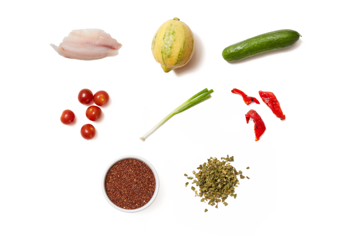 Lemon-Oregano Tilapia & Quinoa Salad with Fresh Tomatoes & Cucumbers