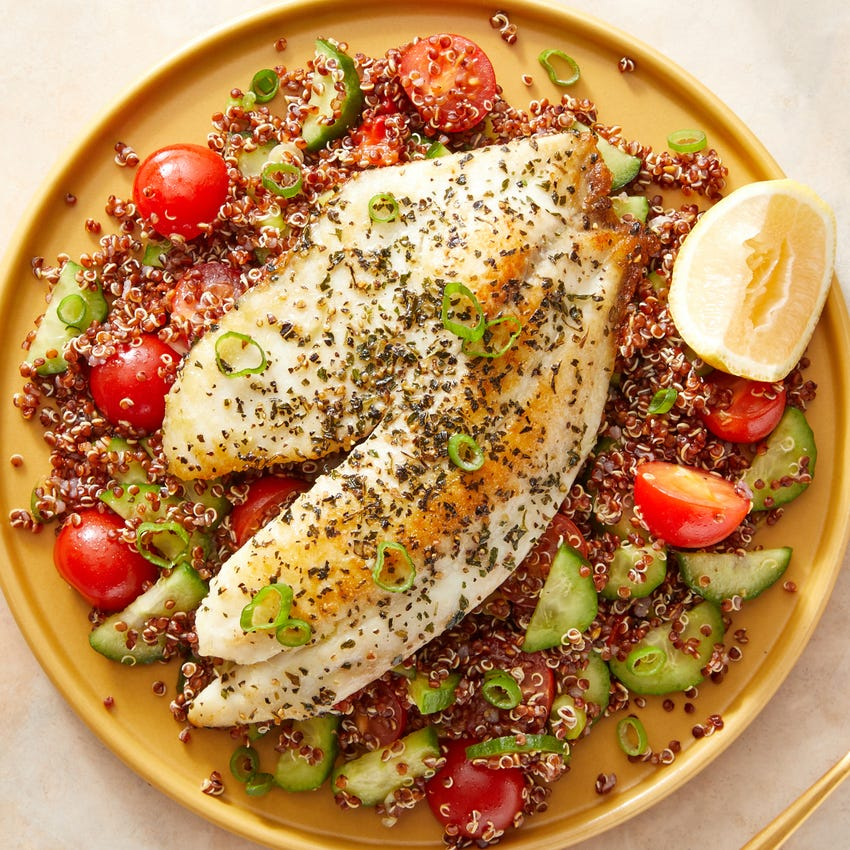 Recipe Lemon Oregano Tilapia Quinoa Salad With Fresh Tomatoes Cucumbers Blue Apron