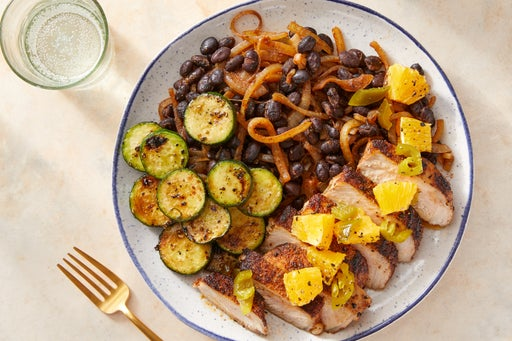Mexican-Spiced Pork Chops with Zucchini & Black Beans