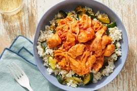 Hungarian-Style Chicken & Tomato Sauce over Zucchini Rice