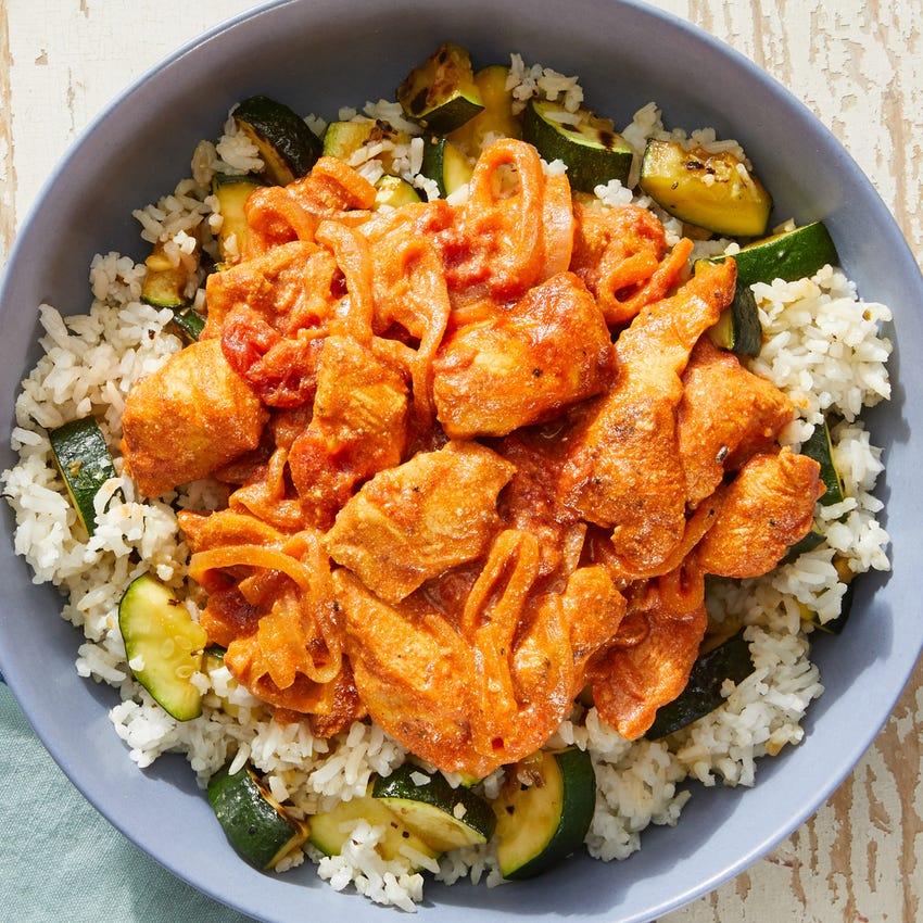 Hungarian-Style Chicken & Tomato Sauce over Zucchini Rice