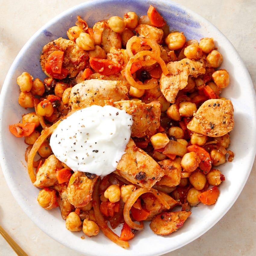 Harissa Chicken & Chickpeas with Greek Yogurt