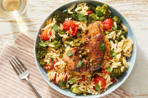 Lemon-Caper Chicken with Creamy Roasted Vegetable Orzo