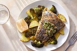 Barramundi & Italian-Style Salsa Verde with Roasted Potatoes & Broccoli