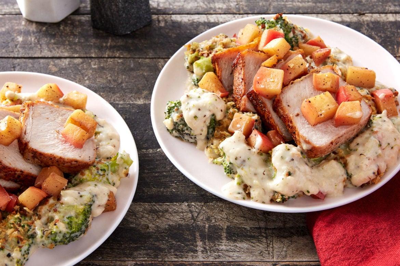 Roasted Pork & Sautéed Apple with Cheesy Broccoli & Garlic Breadcrumbs