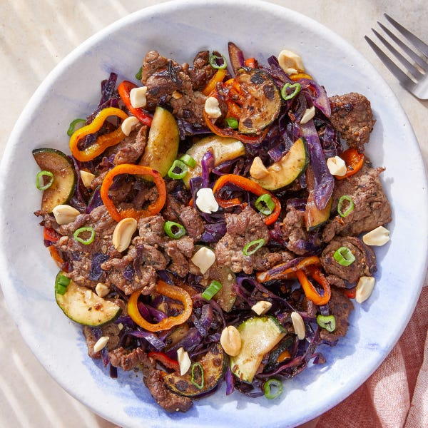Cumin-Sichuan Beef with Cabbage, Peppers & Peanuts