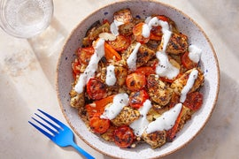 Greek-Style Chicken & Farro with Roasted Vegetables & Lemon-Yogurt Dressing
