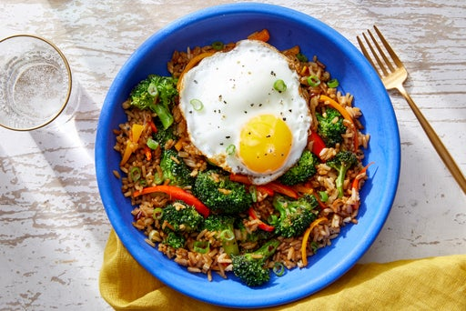 Broccoli & Sweet Pepper Fried Rice with Sunny Side-Up Eggs