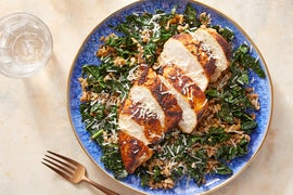 Seared Chicken & Mushroom Farro with Parmesan Cheese
