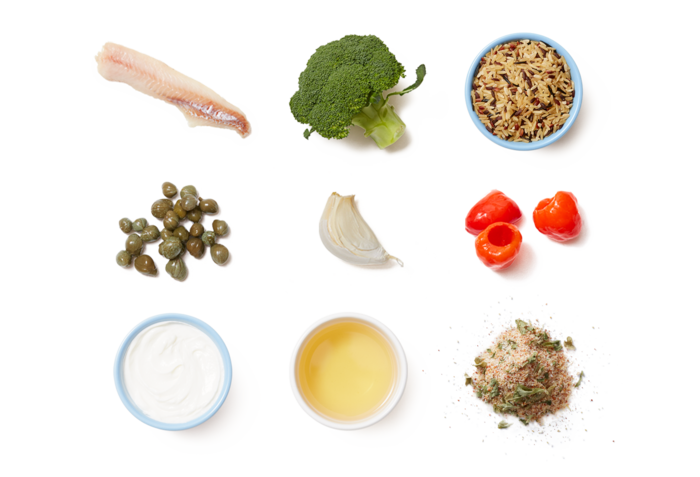 Seared Wild Alaskan Pollock & Caper Yogurt with Broccoli, Peppers & Rice