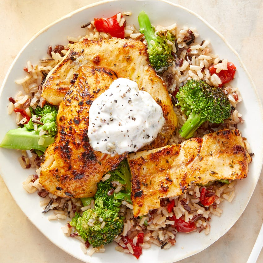 Seared Wild Alaskan Pollock & Caper Yogurt with Broccoli, Peppers & Rice