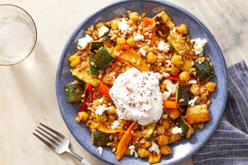 Chickpea, Vegetable & Farro Bowl with Feta Cheese