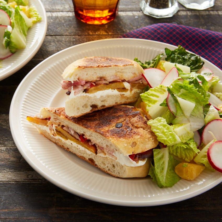 Oaxaca Cheese & Plantain Tortas with Tangelo & Radish Salad