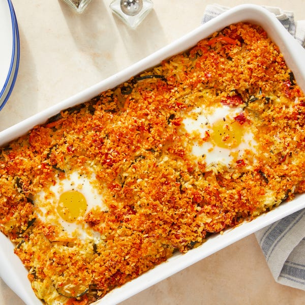 Saffron Rice & Vegetable Bake with Spicy Breadcrumbs