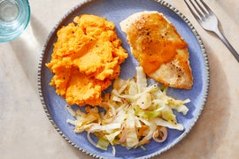 Glazed Chicken & Mashed Sweet Potatoes with Sautéed Cabbage & Apple