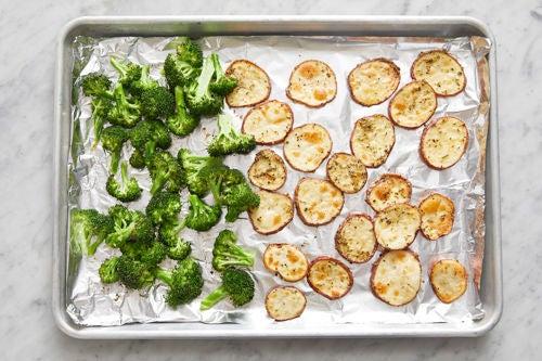 Prepare the broccoli & roast the vegetables: