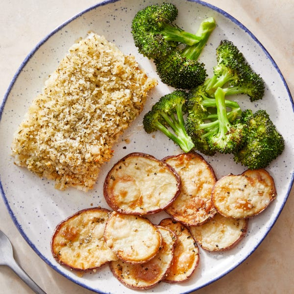 Crispy Baked Cod with Cheesy Potatoes  & Roasted Broccoli