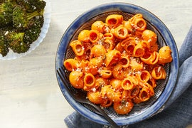 Roasted Red Pepper Pasta with Roasted Broccoli & Parmesan