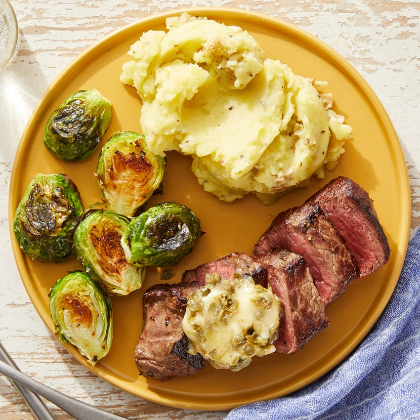 Seared Steaks & Caper Butter with Mashed Potatoes & Roasted Brussels Sprouts