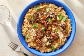 Creamy Shiitake Risotto with Balsamic-Glazed Cremini Mushrooms